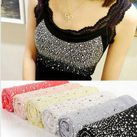 Free Shipping ! 2013 New Hot Ladies Lace Beaded Cotton Tank Tops Vest T-shirt Dot Ladies Tee Shirt Women's Tank Vests 80306