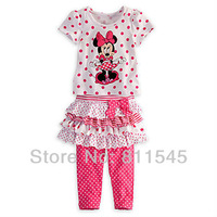Retail Fashion Clothes 2013 Minnie Mouse Outfit Girls Suits Polka Dot T-Shirt + Skirt + Pant 3pcs Set Baby Girl, Free Shipping!