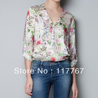 Fashion Women Floral Prints V-Neck Long Sleeve Loose Chiffon Shirt Top S/M/L Free Shipping 651662-
