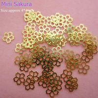 Free Shipping 1000pcs/lot Gold Nail Art Mini Sakura Metal Slice Sticker Decoration