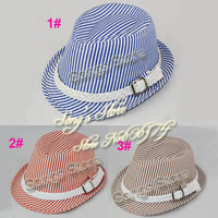 Retail Fashion Children Hat & Cap Striped Baby Cotton Fedora Hat Kids Jazz Cap Infant Fedoras baby fedora hat sample