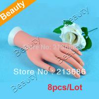 8pcs/Lot Nail Art Practice Soft Plastic Flectional Model Hand  1594
