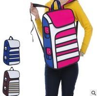 5pcs/lots Fashion design Solid Cartoons 3D bags 3d three-dimensional 14 laptop travel bag sport backpacks 1415
