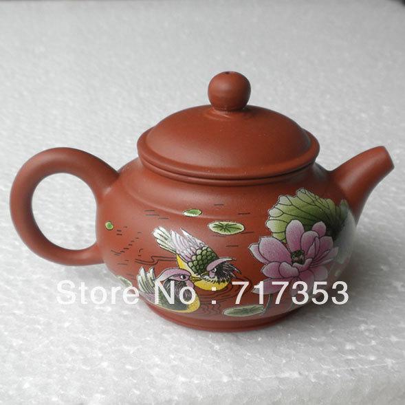 Mandarin Duck Printed Purple Clay Teapot Yixing Purple Clay Teapot(China (Mainland))
