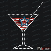 YSSTONE 22A004 Popular Wine Rhinestone Heat Transfer With Star