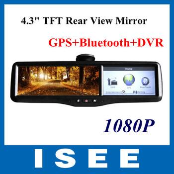 "Big sale New Design Car 4.3"" TFT Mirror Monitor+rear view+GPS+Bluetooth+DVR(1080P) Video recorder +2 Cameras Free Shipping"