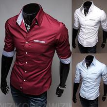 Free Shipping ! 2013 spring New Fashion Casual slim fit long-sleeved men's dress shirts Korean Leisure styles shirt M-XXL C14(China (Mainland))