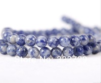 Free Shipping,8mm Natural Semi Precious White Dots Blue Loose Beads,Fashion DIY  Bracelet Necklace Jewelry Making,144pcs/Lot