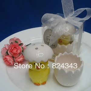 "Wedding Favors ""About to Hatch"" Ceramic Baby Chick Salt & Pepper Shakers+150sets/lot+FREE SHIPPING+Factory Outlet Wholesale(China (Mainland))"