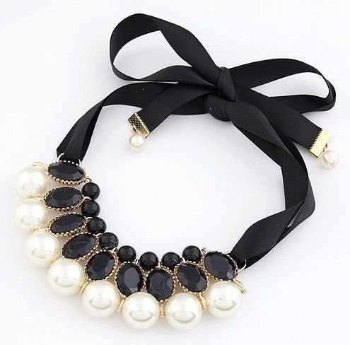 Fashion Ribbon Chain Black Glass Beads &amp; White Pearls Pandent Bib Necklace Jewellery Free Shipping(China (Mainland))