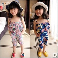 new arrival girl double layer ruffle collar spaghetti strap jumpsuit child overall toddler bib