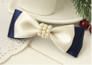 Free shipping, Min order is $6(Mixed product orders price),pearl bow hairpin headband navy style british style hair accessory 8g(China (Mainland))