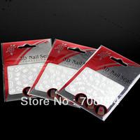 24PCS/lot Nail Art 3D Sticker Decal Lace Sticker White Flowers & Rhinestone 3D Nail Seal KC KB01-24