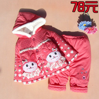 Female child wadded jacket trousers set infant baby thickening thermal cotton-padded jacket rabbit
