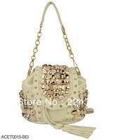 Free shipping ! 2013 fashion vintage fashion bag vintage bagS backpack tassel women's handbag ladies bags HEC031 Black Beige
