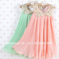 Free Shipping!2013 Summer Girls Pleated Chiffon One-Piece Dress With Paillette Collar Children Colthes For Kids Baby, Pink/Green