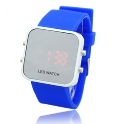 Fashion Unisex Candy Color Soft Silicone Wristband Digital Mirror LED Watch(China (Mainland))
