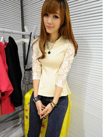 2013 Summer New T477 Korean Women's Ultra-Thin Waist Lace T-shirt, Top Quality, Retail And Wholesale