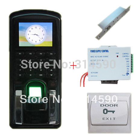 Door Access Control and Time Attendance with TFT Color Screen with 110-240V power supply, electric lock, PC exit button(China (Mainland))