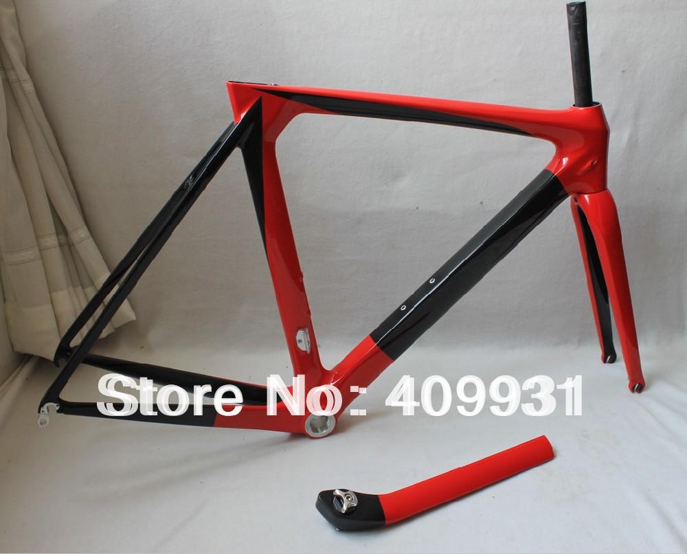 Carbon aero frame 3k-glossy road bike frame painting red BSA/BB30 avaialbe AC053(China (Mainland))