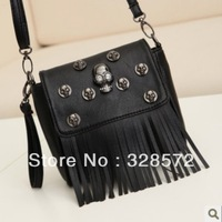 Free shipping 2013 New Arrival Punk Skull Bag Rivet Tassel Shoulder bag Mini Black handbag  wholesale