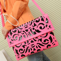 free shipping 2013 vintage neon color cutout envelope bag candy color day clutch women's handbag messenger bag