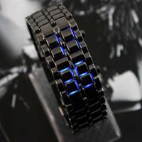 Lovers ! led watch bracelet watch male Women black chain light blue led lava electronic watch