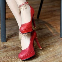 2013 red wedding shoes silver shoes rhinestone tassel hasp high-heeled shoes size 32 - 42 single shoes
