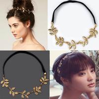 New Wholesale Jewelry Lots 10pc Gold Leaf Headband Head Piece Metal Chain Leaves Charm Hair Elastic Band
