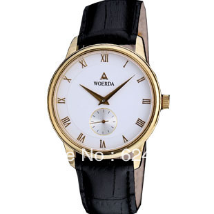 Free shipping WOERDA watch full gold men's watch ultra-thin male watch two needles run independently seconds w(China (Mainland))