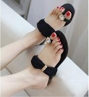 Toe-covering rhinestone flat slippers female flat sandals 2013 women's Flip Flops  retailer 3 color women shoes free shippig