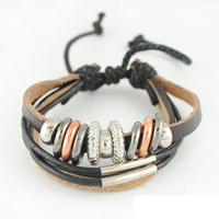 New Arrivals 2013 Fashion Charms Bracelet Free Shipping Top Quality PU Leather Jewelry B1250