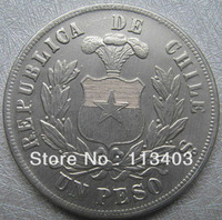 FREE SHIPPING wholesale Replica Chile UN PESO 1881 Coin Copy 90% coper manufacturing