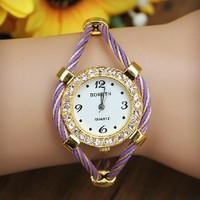 2014 Fashion Ladies Bracelet Wristwatches Gold Diamond Women Dress Watches Causal Watch