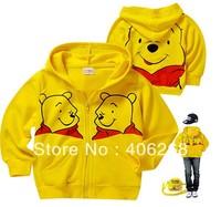 free shipping  2013 new  fashion children hoodies  Winnie  spring Sweatshirts zipper hooded children coat