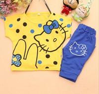 Kitty  2014 new summer girls summer short-sleeved suit cute hellokitty 4pcs/lot