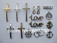 Free shipping (30 pieces/lot mixed) finding LOVE Cross Infinity Anchor Wish Tree Rudder Charm Connectors For Bracelet