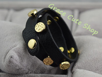 Leather Bangles Famous Brand Jewelry Free Shipping 5A High Quality Package (Dust Bag ,Gift Box) #TB08-Black