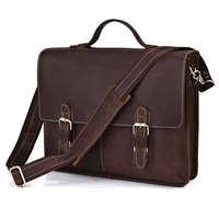 Vintage 100% Genuine real leather  Men buiness handbag  laptop briefcase  shoulder Travel bag  / man  messenger   JMD7090R-295