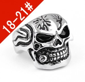 #TFR045 men&#39;s fashion skull finger rings fashion Titanium 316L stainless steel jewelry do lettering(China (Mainland))
