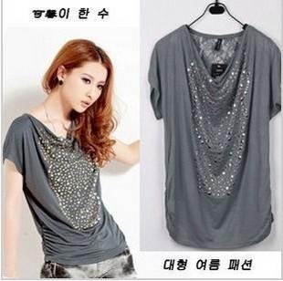 2013 plus size bat wing womens open back t shirts , oversized tops, paillette cotton tee,woman loose xxxl blouses clothing OL019