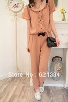 Hot sale Free shipping 2013 Summer new women's Large size thin chiffon waist bow jumpsuit