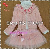 children three pieces sets skirt children's clothing suit 3 pieces skirt triangle set lace princess dresses child outerwear