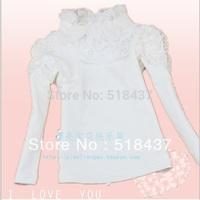 100% cotton T-shirt child girls kids Long sleeve T-shirt girls Under Shirt princess lace flower T shirt girls kids children