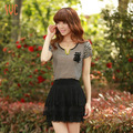 spring and summer loose stripe short-sleeve T-shirt female plus size women&#39;s pumping  free shipping