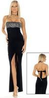Женский эротический костюм Black Evening Dresses With Beads And Sequins Bridemaid Dresses Strapless Europe Uniform Nightclub YK700