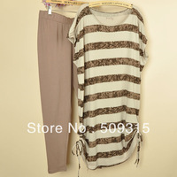 2013 women's T-shirt short-sleeve dress capris casual set plus size a790