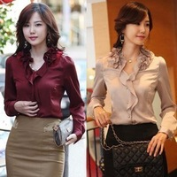 2013 spring ol elegant ruffle collar women's shirt slim satin Women long-sleeve shirt