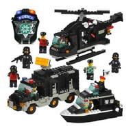 intelligence toy building blocks puzzle blocks Police car model kit Luban kids gift