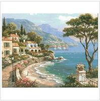 Free Shipping Counted Cross Stitch Kits   Sea Villa Tree 00130